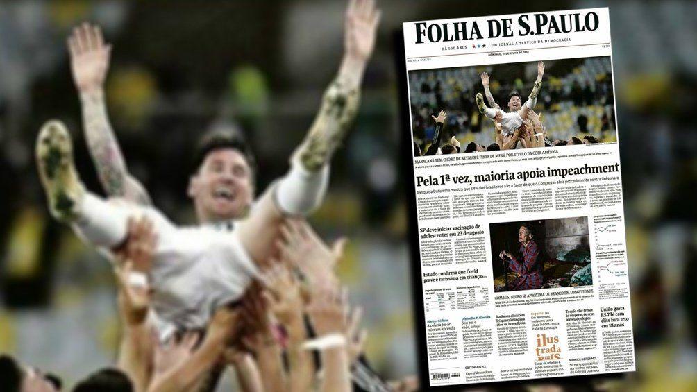 La felicidad de Messi reflejada en la prensa de Brasil.