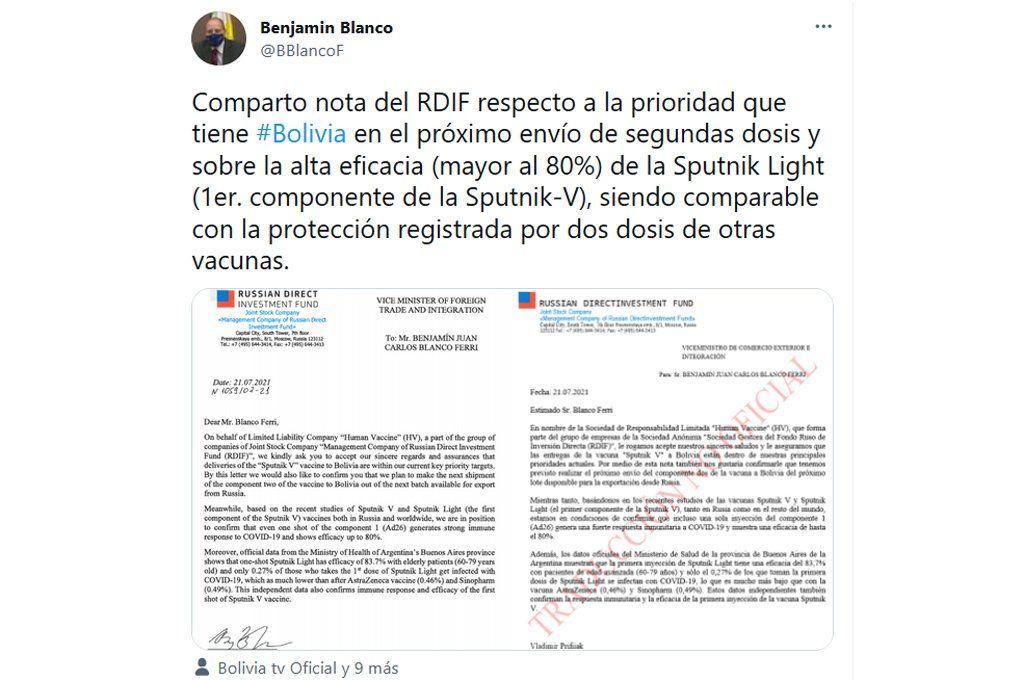 El tweet con las imágenes de las carta de respuesta que el RDIF le cursó al gobierno boliviano sobre la demora en la entrega de las segundas dosis de Sputnik V.