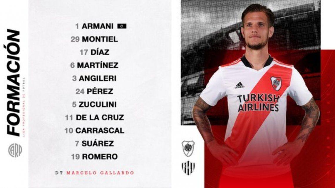 El equipo que Marcelo Gallardo dispondrá en Núñez.