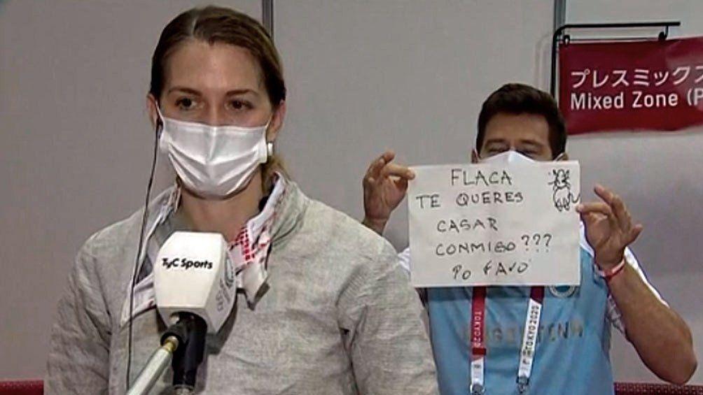 Bélen Pérez Maurice fue sorprendida por su novio y entrenador Lucas Saucedo. Foto: captura de TV.