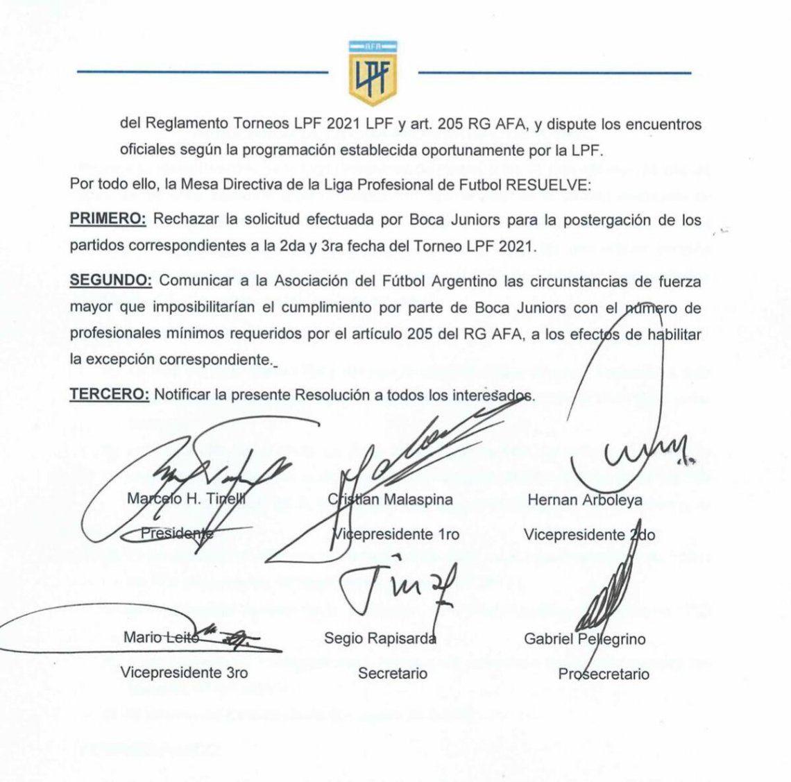 La Liga Profesional rechazó el pedido de Boca