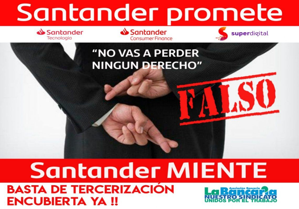 La Bancaria denuncia al Banco Santander con una campaña de afiches en la vía pública