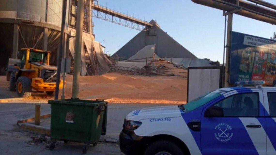 El derrumbe del silo dejó a dos operarios heridos.