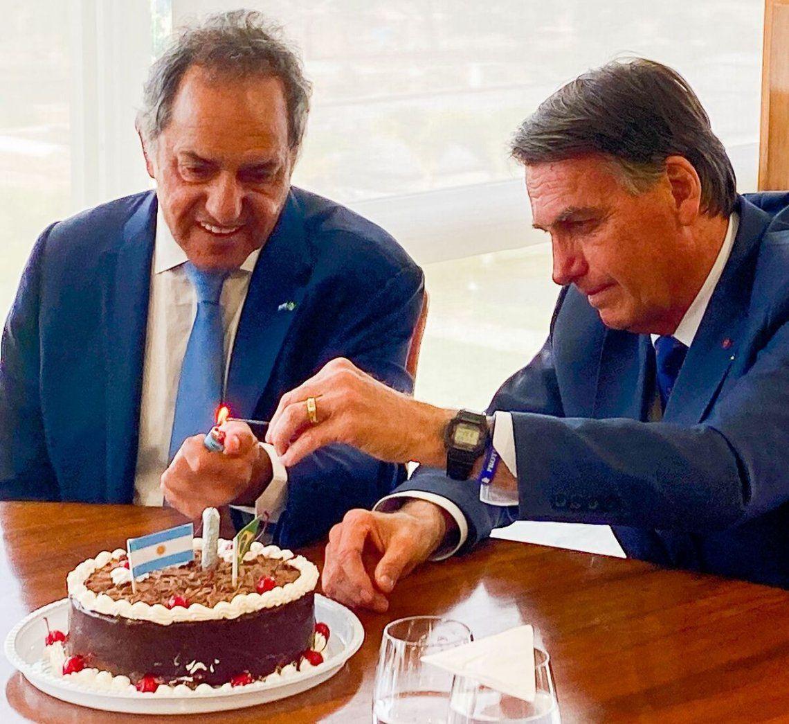 Daniel Scioli y Jair Bolsonaro.