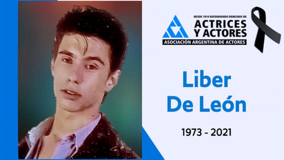Murió el actor argentino Liber De León a los 48 años.