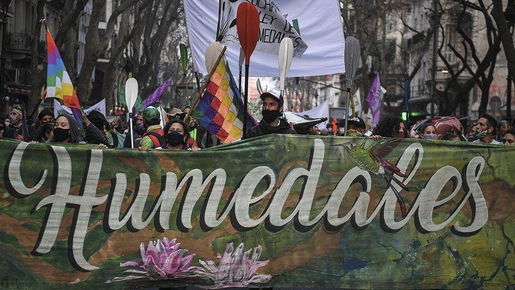 Ley de Humedales: organizaciones socioambientales marcharon para que se trate en el Congreso