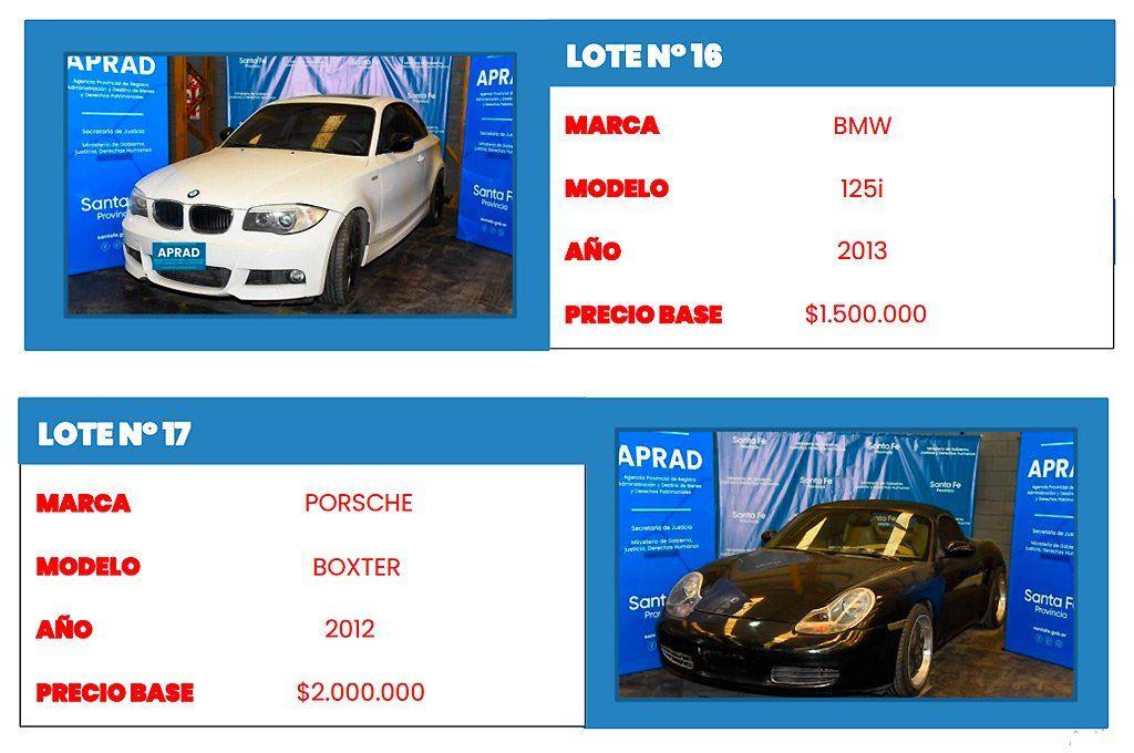 Un BMW y un Porsche son dos de los autos más destacados de esta subasta de APRAD.