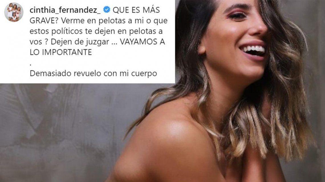 Cinthia Fernández respondió a críticas con una foto desnuda.