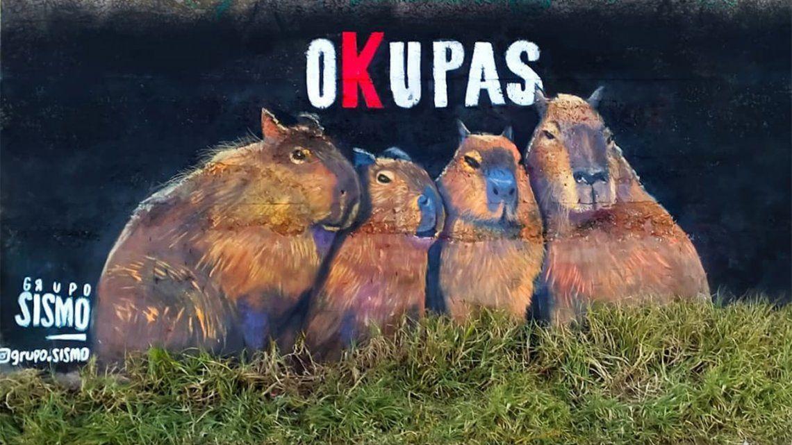 Hicieron un mural homenaje a los carpinchos Okupas de Nordelta.