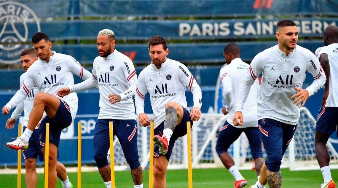 El PSG en entrenamiento.