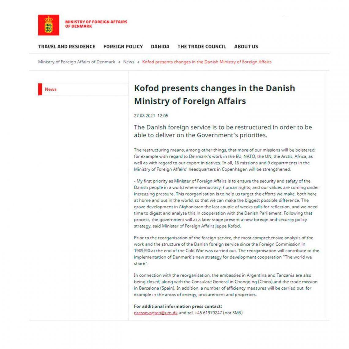 Dinamarca cierra su Embajada en la Argentina
