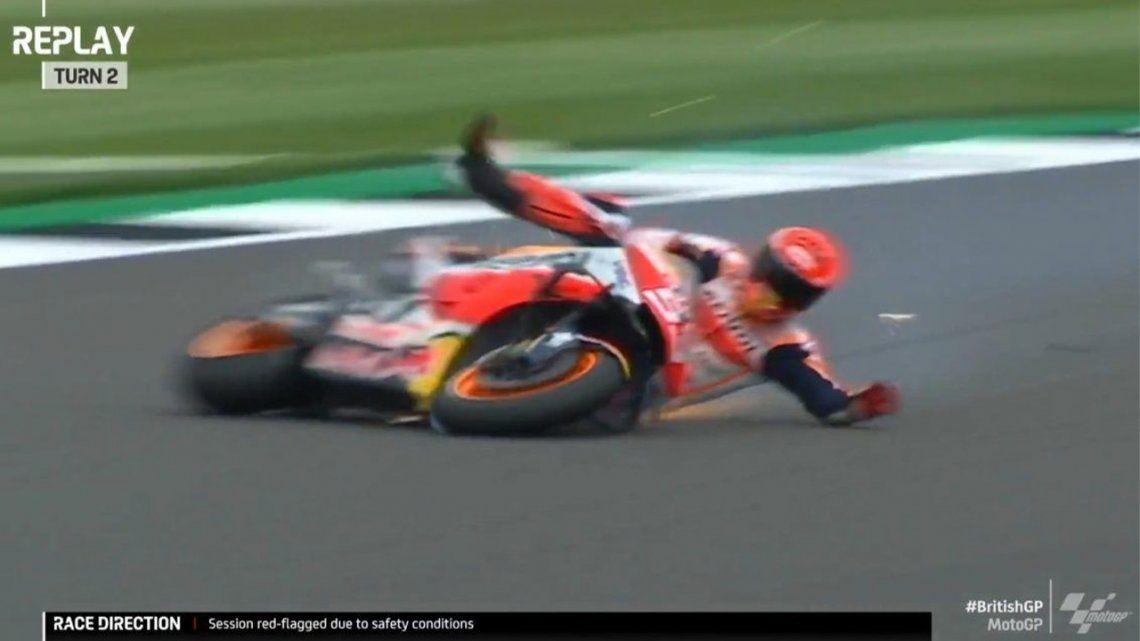 Marc Márquez protagonizó una espectacular caída en el MotoGP.