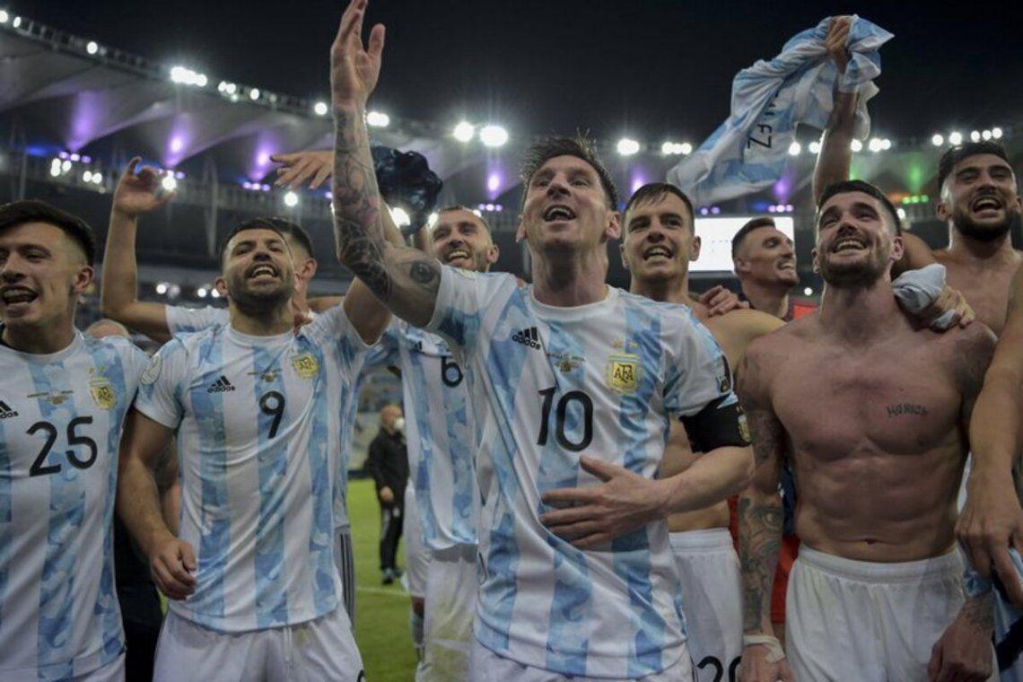 La selección argentina festejando la final de la Copa América.