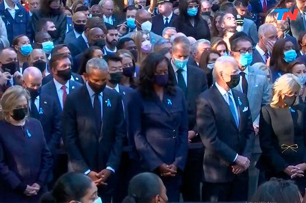 11-S: Biden, Obama y Clinton, juntos en la ceremonia en Nueva York