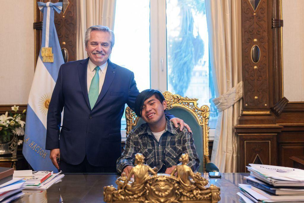El Presidente junto a Maxi en la Rosada.
