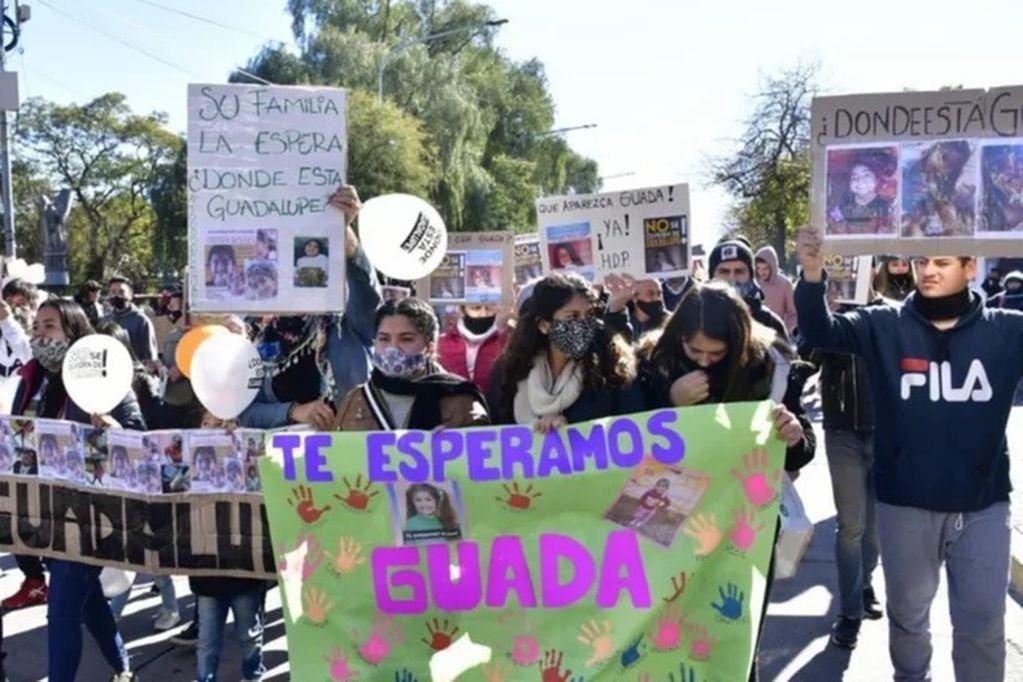 Convocan a una nueva marcha en reclamo de la aparición con vida de Guadalupe Lucero. Foto: Archivo.