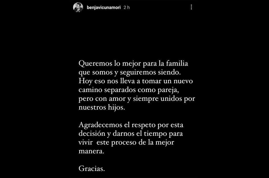 El posteo que Benjamín Vicuña realizó este viernes en su cuenta de Instagram.