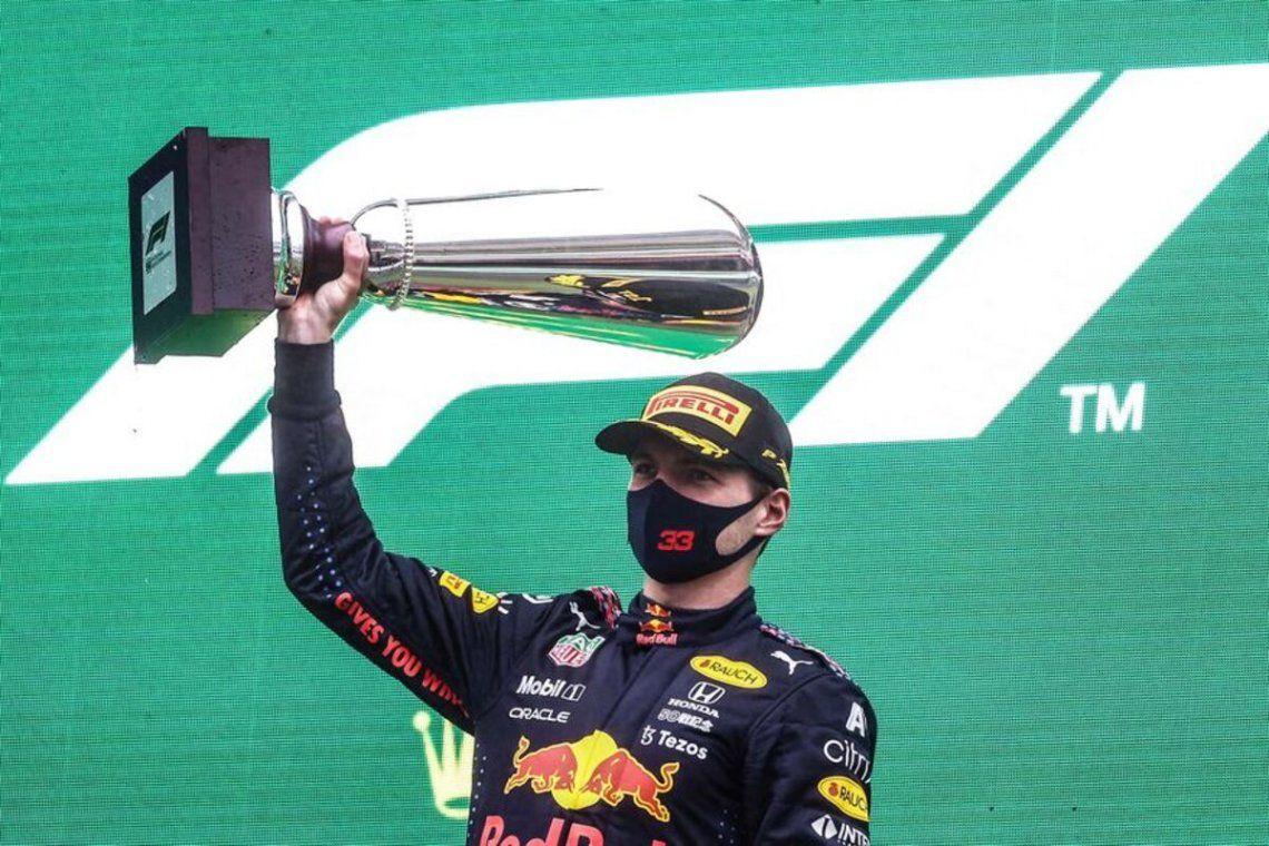 Max Verstappen celebra el Gran Premio de Bélgica.