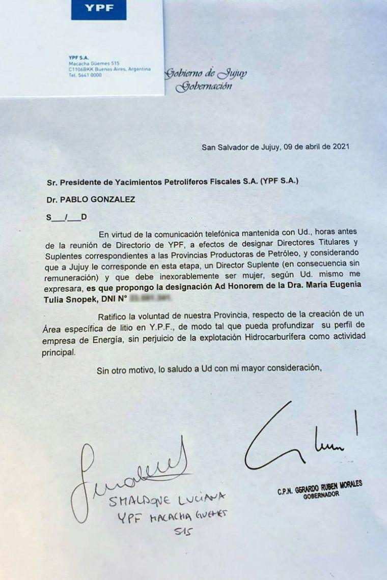 YPF: la carta enviada al presidente de la empresa.