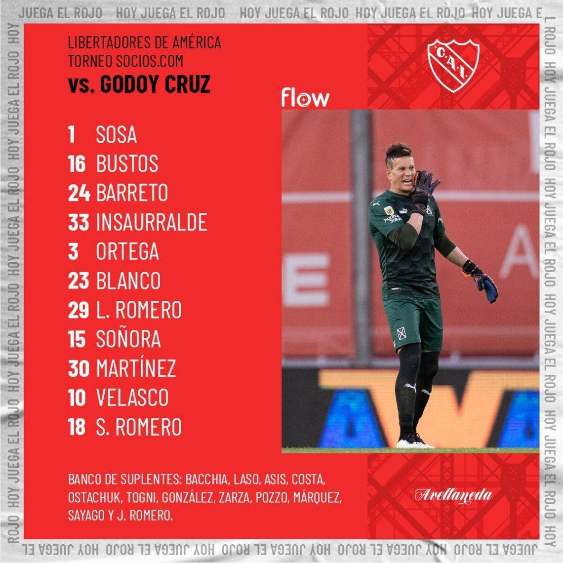 Independiente anunció la alineación.