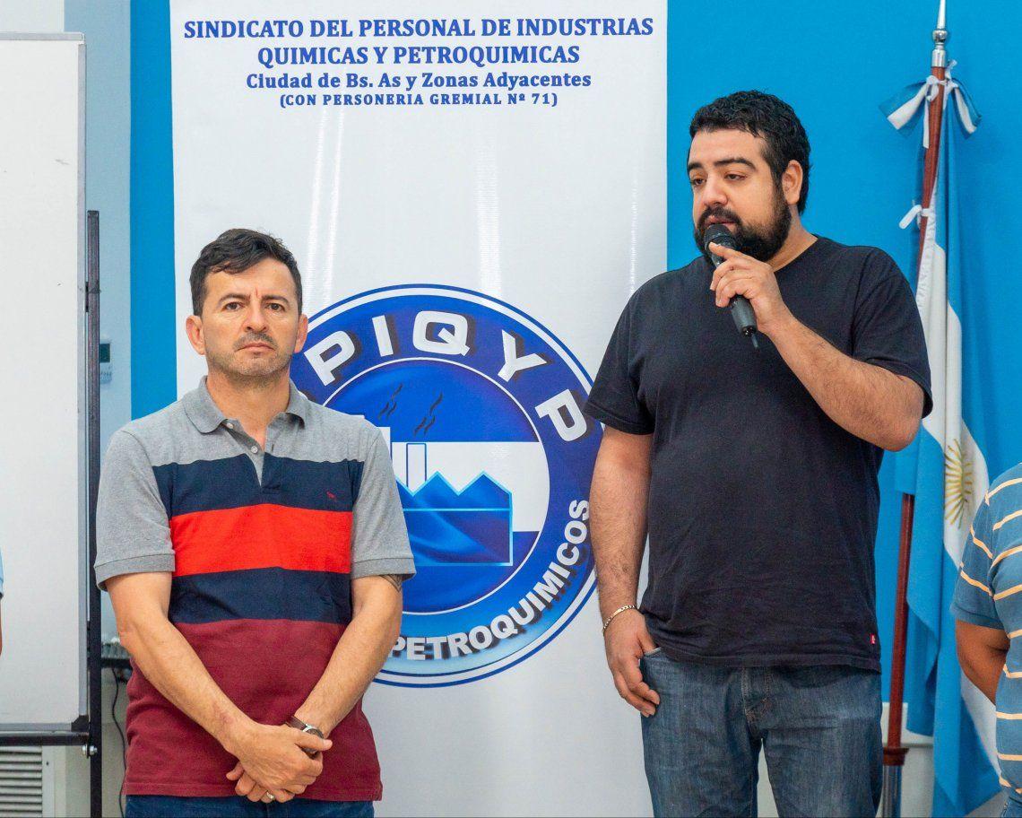 Facundo Aveiro (Secretario general) y Alfredo Amaya (Secretario de organización) del SPIQyP
