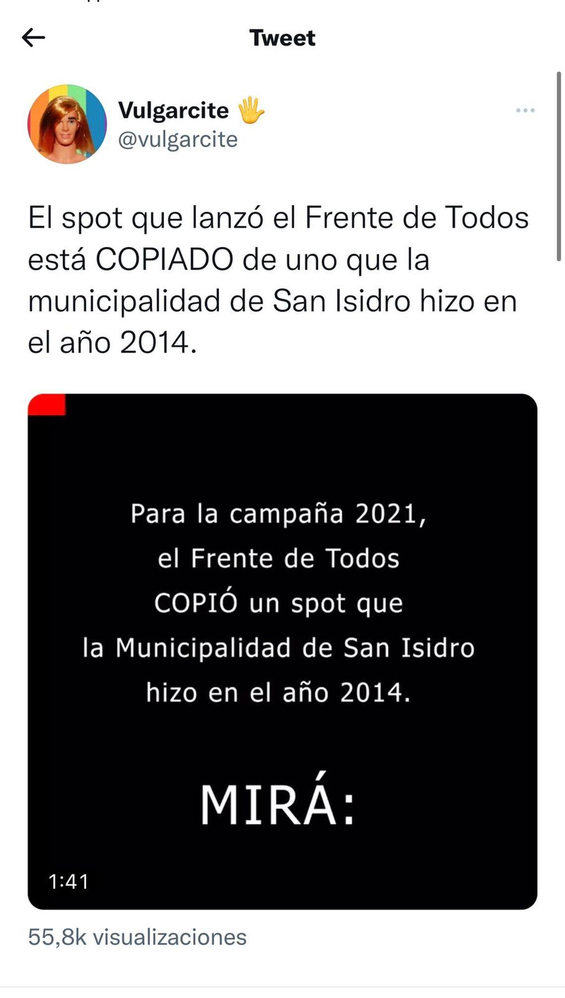 El spot que el Frente de Todos le copió a San Isidro