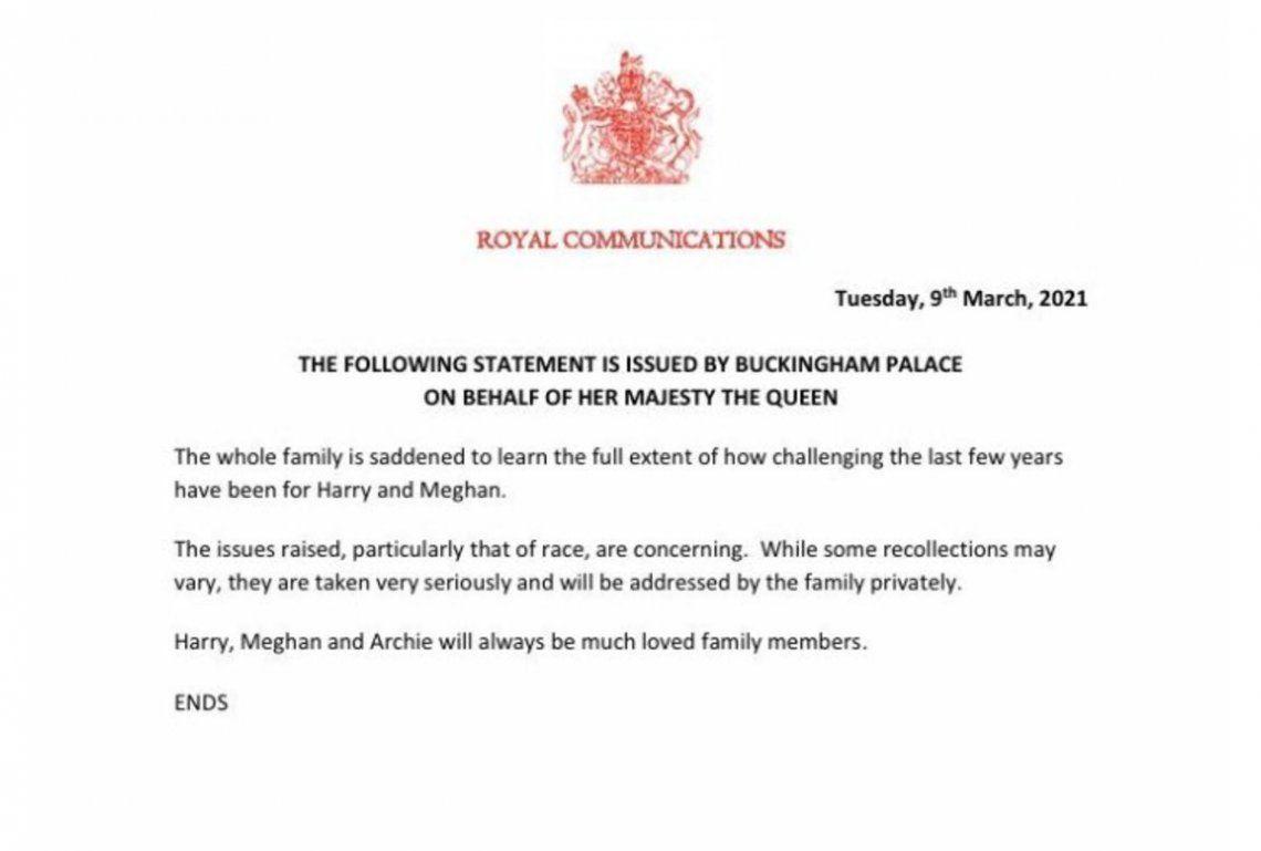 El comunicado de la reina Isabel II luego de las declaraciones de Meghan Markle.