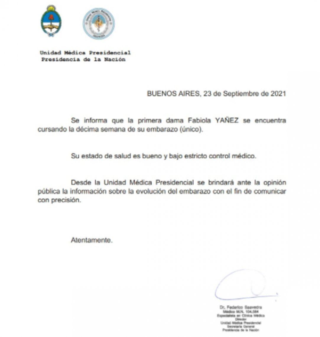 El comunicado que confirma el embarazo de la primera dama, Fabio Yáñez.