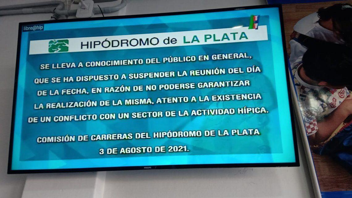 Hipódromo de La Plata: suspendieron las carreras