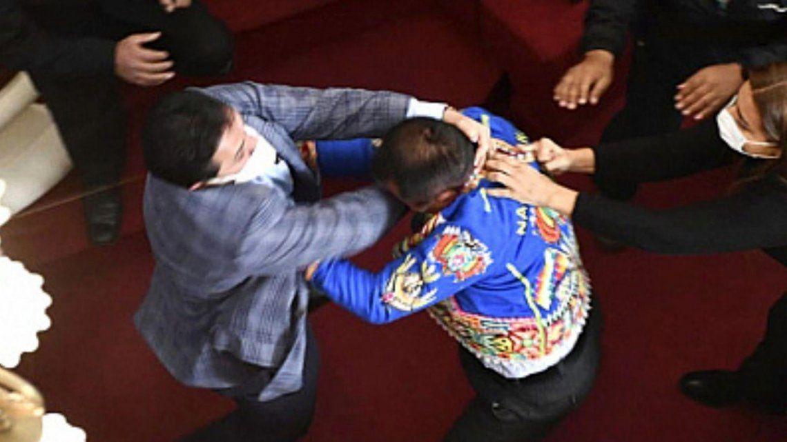El senador Henry Montero (Creemos) y el diputado Antonio Gabriel Colque (MAS) se agarraron a golpes en plena sesión en Bolivia.