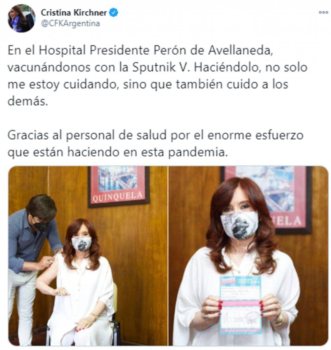 Mensaje de la vicepresidenta Cristina Kirchner en su cuenta de twitter.