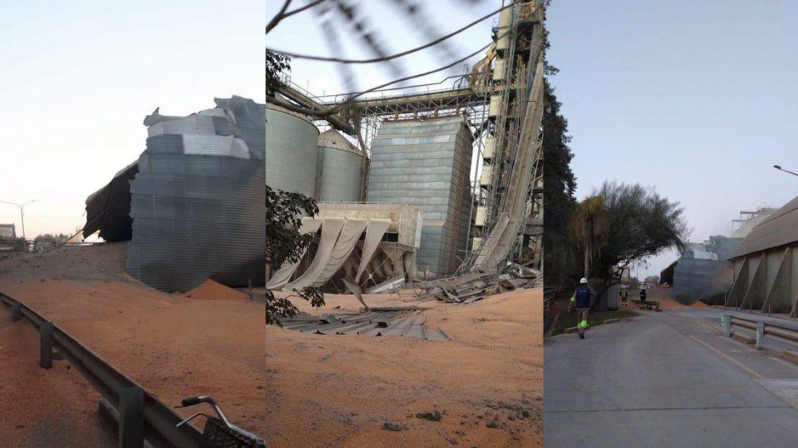 Una celda de almacenamiento de granos de un silo de la planta Bunge en Puerto General San Martín se desplomó.