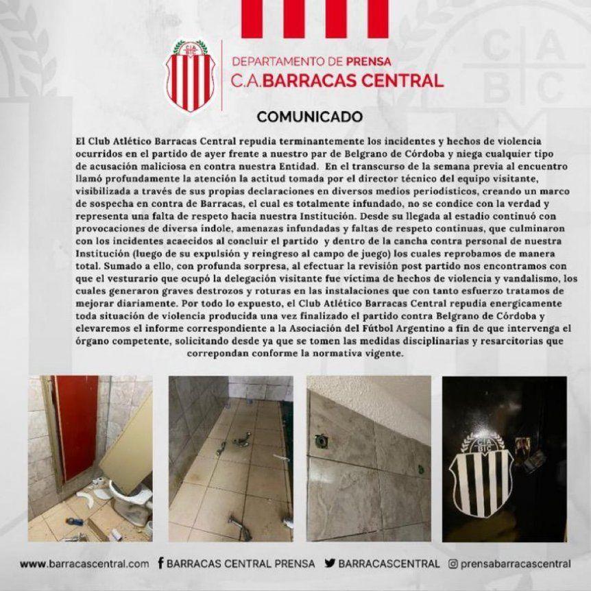 La respuesta de Barracas Central a los dichos de Caruso Lombardi