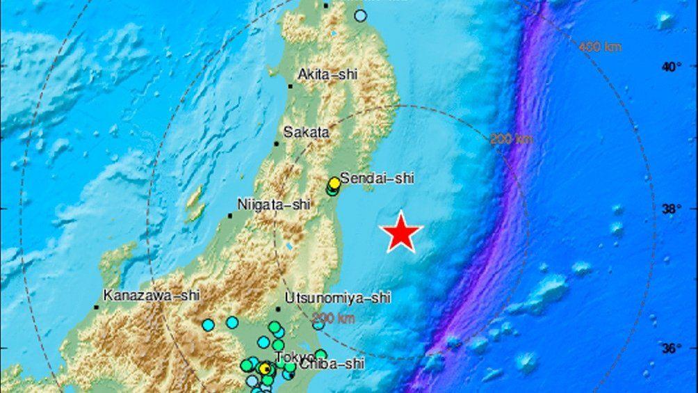 El epicentro del sismo se situó a 60 km de profundidad en el Océano Pacífico y a unos 60 km de las costas de Fukushima.