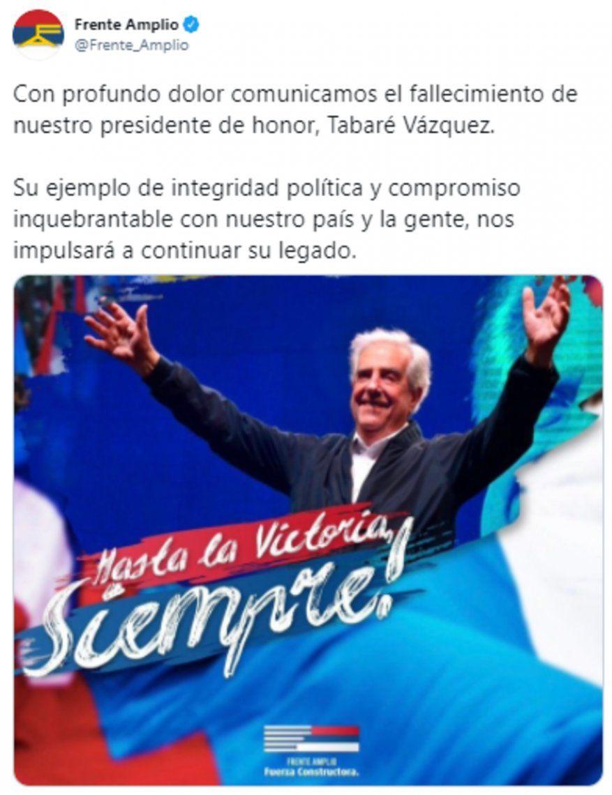 El Frente Amplio destacó el compromiso del ex presidente Tabaré Vázquez