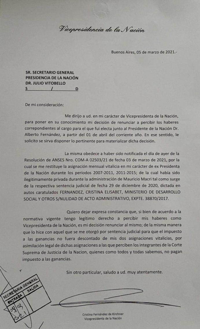 Cristina Kirchner: la carta a Julio Vitobello.