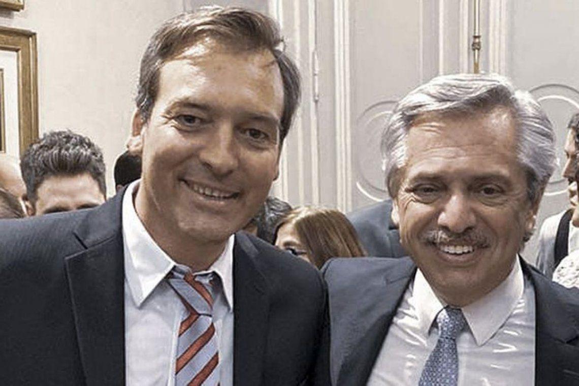 Martín Soria junto al presidente Alberto Fernández.