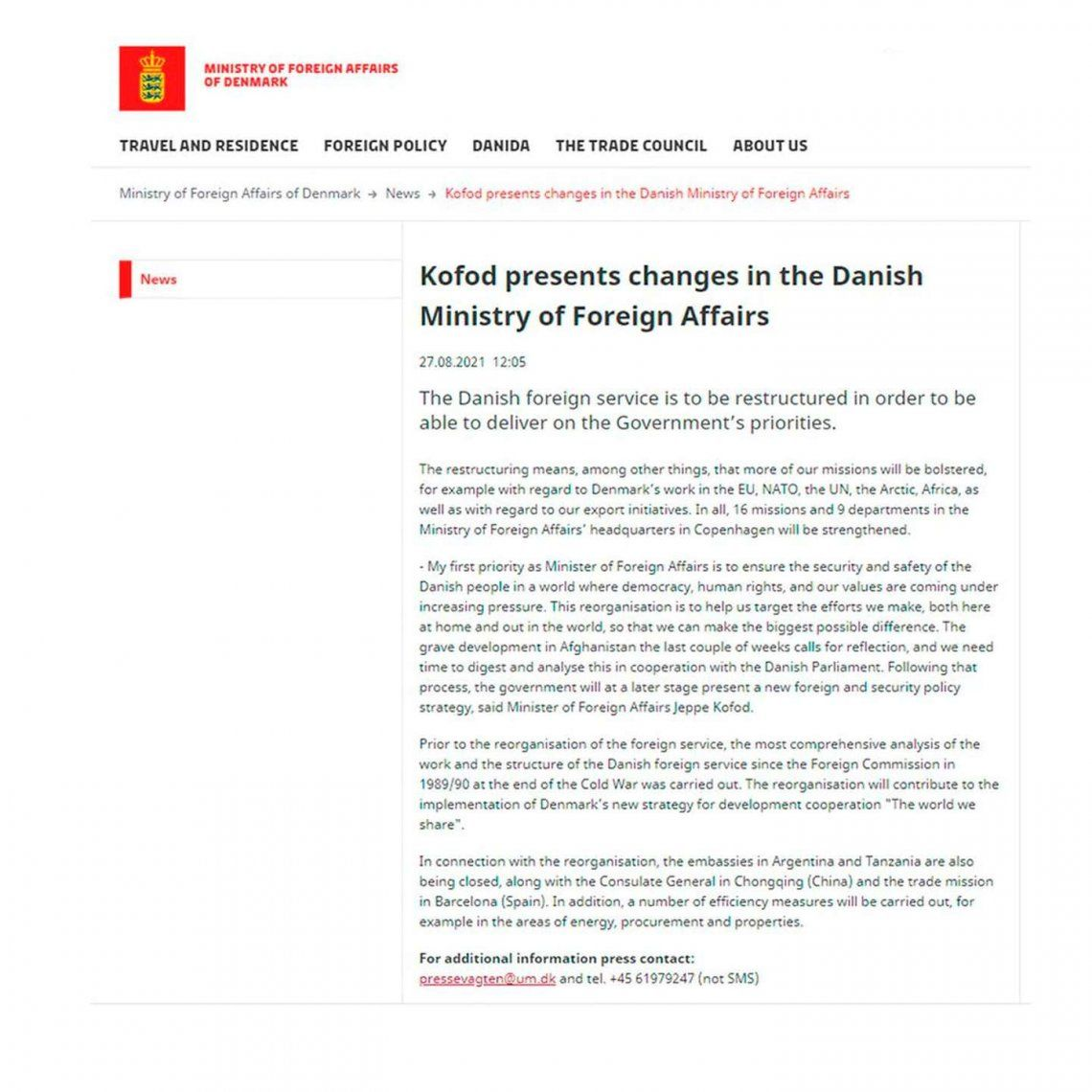 Dinamarca: el comunicado del Gobierno.
