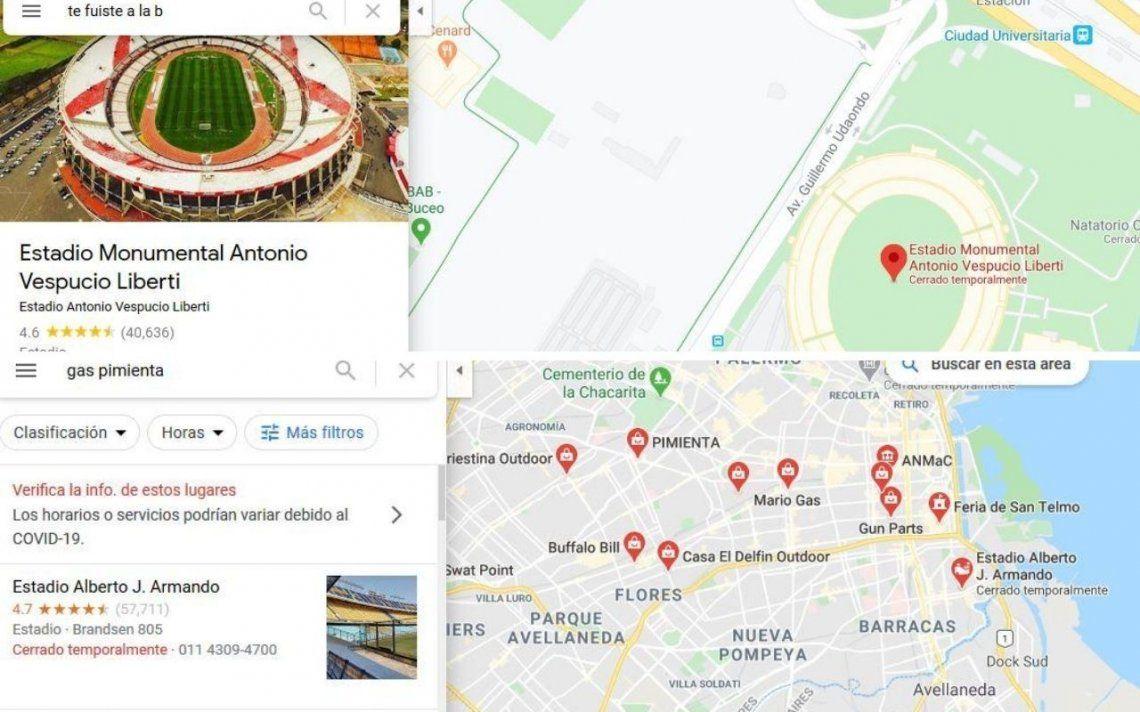 Te fuiste a la B y Gas pimienta:  cargadas a River y Boca en Google Maps