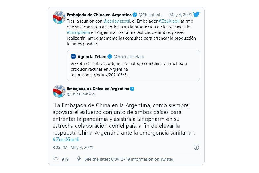 La vacuna Sinopharm será producida en Argentina