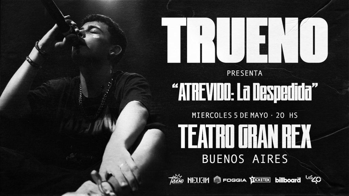 Trueno presenta su show presencial en el Gran Rex
