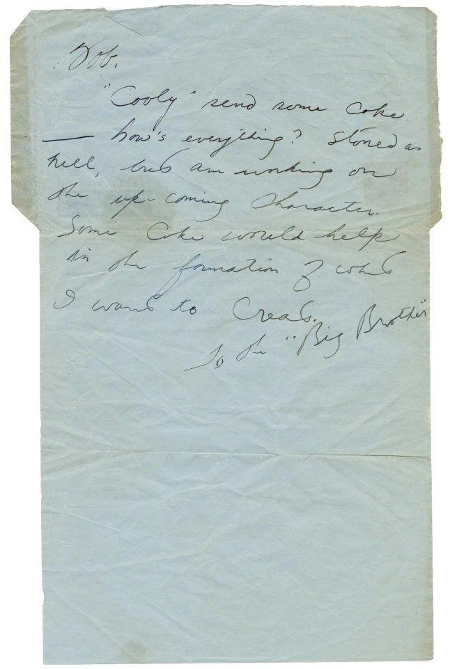 Carta escrita a mano de Bruce Lee pidiendo drogas