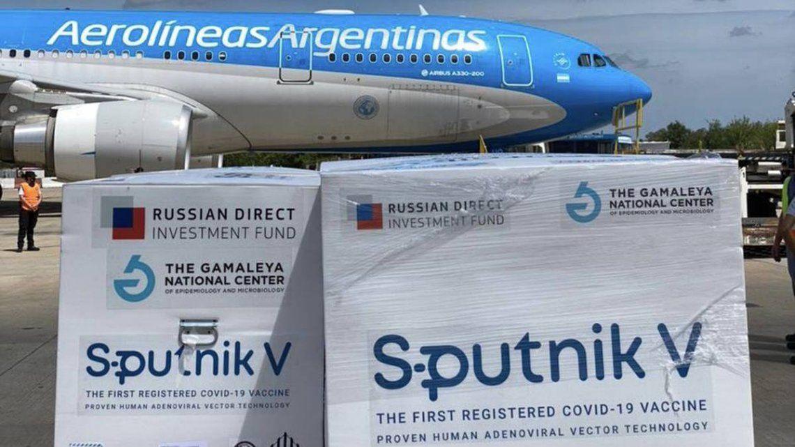 Llegaron 400 mil nuevas dosis de la vacuna Sputnik V