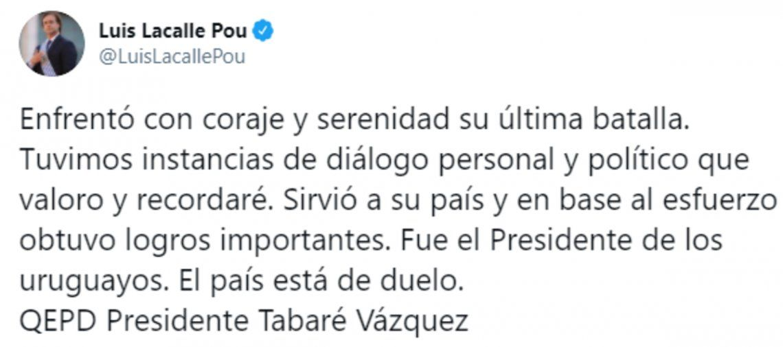 El presidente de Uruguay, Luis Lacalle Pou, recordó a su predecesor, Tabaré Vázquez